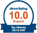 Avvo Rating 10,0 Superb DUI&DWI